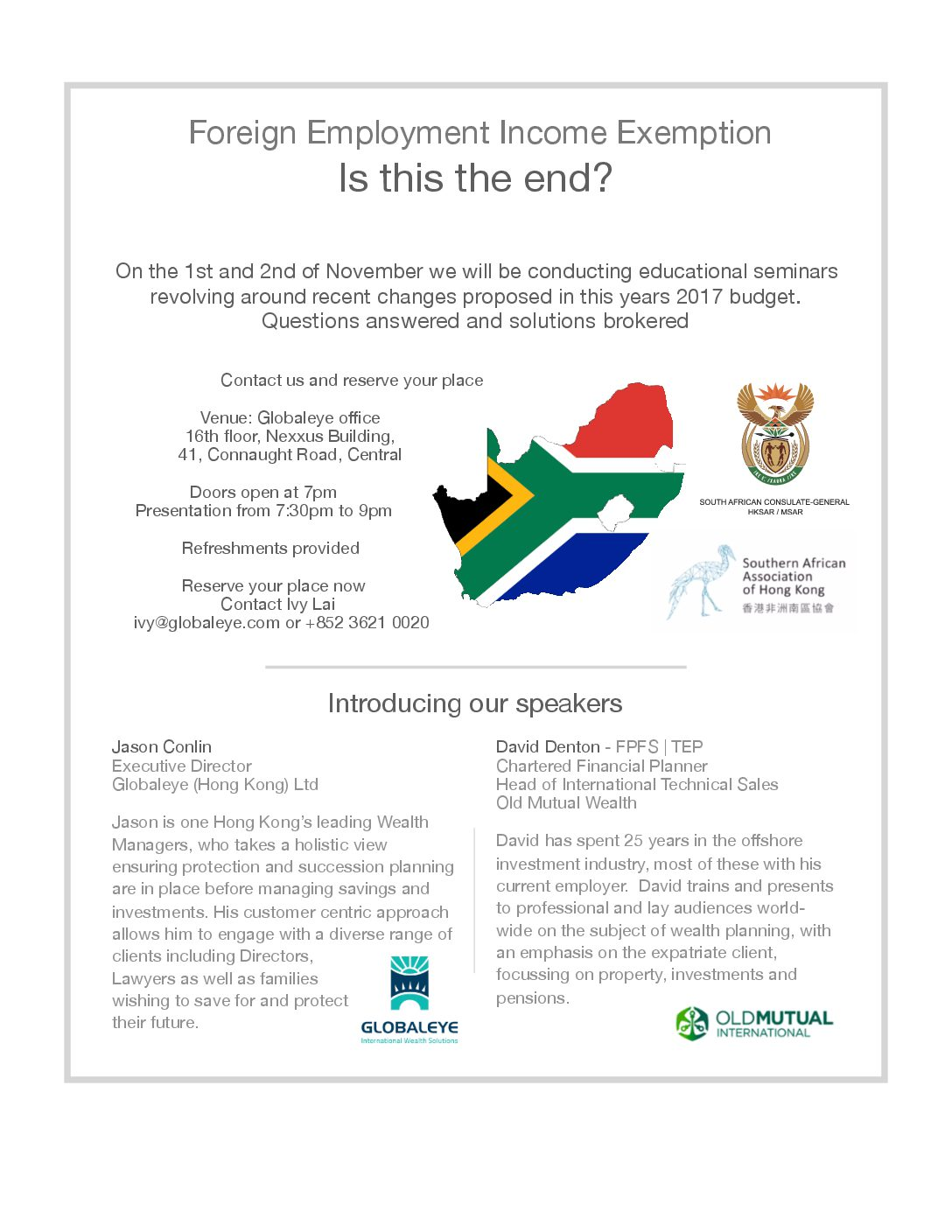 Tax Information Sharing Seminar for South Africans Abroad