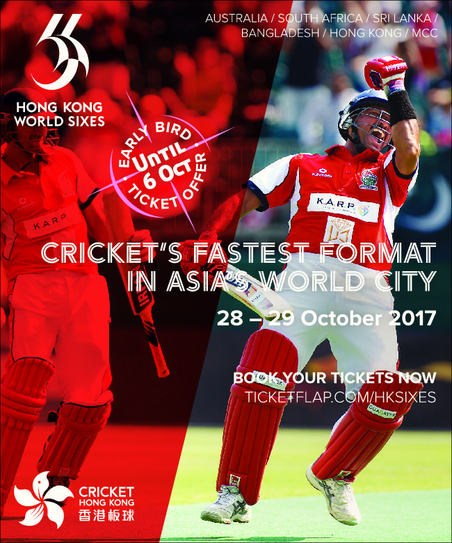 The Hong Kong World Cricket Sixes on 28 and 29 October – 10% ticket discount for SAAHK members