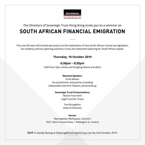 South African Financial Emigration Seminar – 10 October